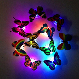 Wholesale Fiber Optic Butterflies - Colorful Fiber Optic Butterfly Nightlight 1W LED Butterfly For Wedding Room Night Light Party Decoration paste on Wall Lights NL009