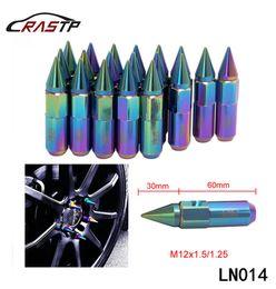Wholesale Racing Lug Nuts - RASTP - M12x1.5 1.25 Neo Chrome Rainbow BLOX Racing Wheel Lug Nuts With 20 PCS Spikes Lenght 90mm RS-LN014