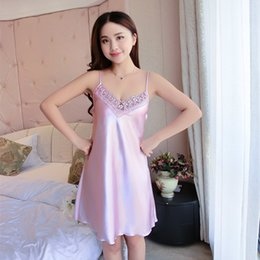 Wholesale Ladies Night Sleeping Dress - Wholesale- Women's Dresses The New Sexy Lace Home Clothes Sleep Sling Silk Ladies Night Dresses Home Sleep Wear Comfortable Sleep Skirt