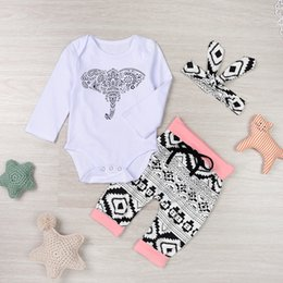 Wholesale Baby Animal Bodysuits - Autumn winter baby romper Baby kids christmas sets elephant print Romper+geometry pants+Headband Bodysuits Outfits Clothing Sets