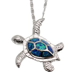 Wholesale beach jewelry charm - Jewelry Sets Sea Turtle Silver Plated Blue Opal Charm Pendants Earrings Hot Sale Unisex Sea Beach Jewelry Hermosa Christmas Gift
