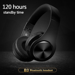 Wholesale Wholesale Pc Headphones - B3 Bluetooth Headphones Wireless HiFi Stereo Headset Headphone Headfone With Mic Support TF Card FM Radio For Smartphone PC with retail box