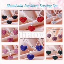 Wholesale Rose Gold Necklace Set Heart - Free Shipping New Arrival Fashion Rose Crystal Heart Pedant Shamballa Necklace earring set lot Rhinestones Ball Bead JEWELLRY C032