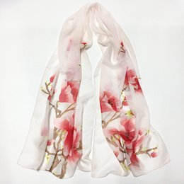 Wholesale Flower Silk Scarf - Women's Fashion 2017 new summer spring and Autumn scarf polyester female Silk scarves Hand-painted long Print flower