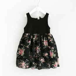Wholesale Black Wool Crepe - children Princess outfits Girls Floral Print Bow Dress Ruffles Summer Cand Color Sweet Princess Holiday Dresses