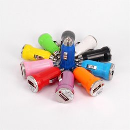 Wholesale Dual Car Charger Ego - Colorful Dual USB Car Chargers Bullet Mini USB Adapter Cigarette Lighter For Iphone 7 Plus For Samsung S7 S6 Ipad Pro EGO Car Charger