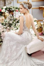 Wholesale White Jeweled Mermaid Dress - backless mermaid wedding dresses 2017 val stefanie bridal gowns crystal beaded fit flare jeweled sweetheart neckline wedding gowns