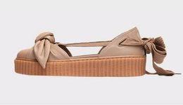 Neu Fenty By Rihanna Creepers Kollektion Bow Creeper Sandalen Pink Weiß  Braun Khaki Tint Damen Schuhe Ankle Wrap Lace-Up Leder Ballerinas