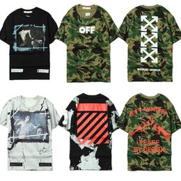 Wholesale Camouflage Fashion Pink - OFF WHITE C O 13 Trend T-shirts Men Women Fashion Summer Brand Clothing Skateboard Military Army Camouflage Hip Hop T Shirts