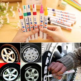 Wholesale Painting Car Windows - Colorful Waterproof pen Car Tyre Tire CD Metal Permanent Paint markers Graffiti Oily Marker Pen marcador caneta stationery