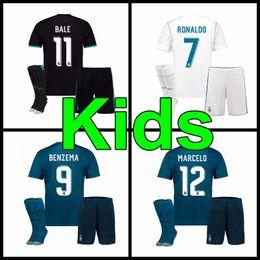 Wholesale Boys Football Kits - 17 18 Real Madrid kids home away third soccer jersey kits youth boys child jerseys kits 2017 2018 RONALDO BALE ISCO MODRIC football shirts