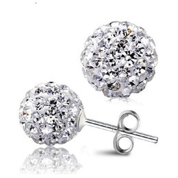 Wholesale Pink Disco Ball Earring Studs - 10 Color 8 MM Shamballa Earrings Micro Disco Ball Shamballa Round CZ Stud Earrings For Women Girls Fashion Jewelry Wholesale