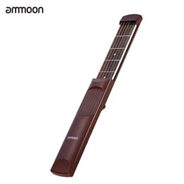 Wholesale Wholesale Guitar Frets - Wholesale- ammoon Portable Pocket Acoustic Guitar Practice Tool Gadget Chord Trainer 6 String 6 Fret Model Rosewood Fretboard Wood Grain