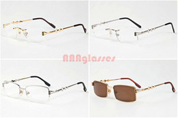Wholesale Titanium Rimless Frames For Women - High Quality Mens Womens Designers Brand Optical Frame Semi Rimless Gold Silver Eye Glasses For Metal Frame with Best Package