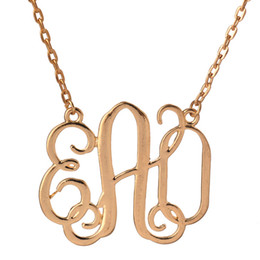 "Wholesale Monogram Necklaces Wholesale - Monogram Pendant Necklace Women 2017 Luxury 18K Gold Plated Chains For Necklaces Initial Letter ""EAO"" Pendants Colares Feminino Free Ship"