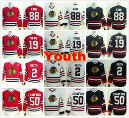 Youth Chicago Blackhawks Maglie 88 Patrick Kane 19 Jonathan Toews 2 Duncan Keith 50 Corey Crawford Home Rosso Bianco Bambini Hockey su ghiaccio Jersey da