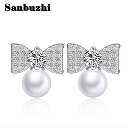 Wholesale Authentic Pearl Earrings - Sanbuzhi Brand New Authentic Elegant Bowknot Design Pearl Stud With AAA Zircon For Women Ladies Wedding Earrings Free Shipping ZE105