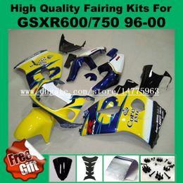 Wholesale Blu Kit - 9Gifts fairing kit for SUZUKI GSXR600 GSXR750 1996 1997 1998 1999 2000 GSX-R600 GSX-R750 96 97 98 99 00 GSXR 750 600 ABS Fairings yellow blu