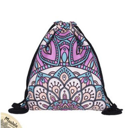 Wholesale Drawstring Backpack Animals - MANDALA Drawstring Bags New Fashion Women Kids Mandala Drawstring Backpack Pouch Gift Children School Bags Travel Bags