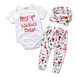 Wholesale 12 Month Girls Clothes - Retail 2017 Ins New Valentines Day Baby Girl Three Piece Sets Love Heart Arrow Bodysuit+Pants+Headband Children Clothing 0-2Y B1657