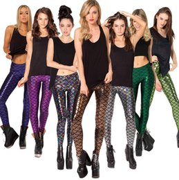 Wholesale Wholesale Ladies Spandex Leggings - Multicolor High Waist Elastic Fish Scale Stretched Fitness Pants Trousers Mermaid Leggings for Women Ladies Free Shipping