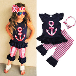 Wholesale Clothes Baby Anchor - Summer Baby Girls Clothes Sets Anchor T-shirt Tops Ruffles + Striped Pants + Headband Outfits Set 3 PCS Fashion Girl Clothing