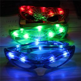 Wholesale Party Glasses Spiderman - Hot Spiderman LED Light Flashing Glasses Gift Cheer Dance Mask Christmas Halloween Days Gift Party Glasses