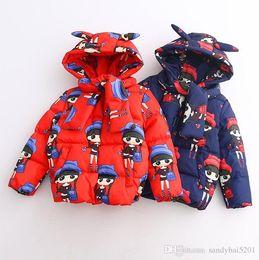 Wholesale Girl Children Princess Coat - Kids Girls Coat 2017 Winter Baby Girls Cartoon Print Hooded Coat Princess Outwear Infant Girls Full Sleeve Jacket Children Clothing S951
