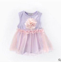 Wholesale Children Girl Flower Jumpsuit - Baby romper INS summer Baby Girls stereo flower tulle Romper Infant cotton pink gauze jumpsuit summer new children clothing T2663