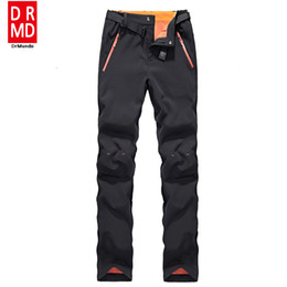 Wholesale shell trousers - Wholesale- Winter women ski pants waterproof soft shell fleece pant thicken outdoor thermal fleece snowboard trousers skiing snow pants