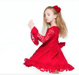 Wholesale Chinese Kids Wear - Girls Children Red Party Dress Lace Ruffles Pleated Formal Dress For Princess Baby Kids Toddlers Half Flare Sleeve Dancing Dress Skirts Wear