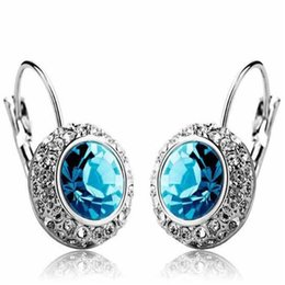 Wholesale Wedding Diamond Earings - Women Earings Full Rhinestone Diamond Earrings DHL 925 Silver Pated Crystal Stud Earrings Trend Jewelry for Lady Christmas Gift