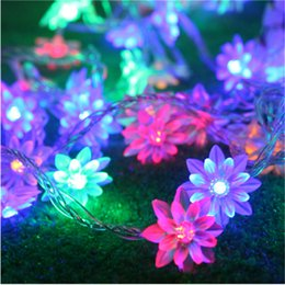 Wholesale lotus flowers indoors - Wholesale- AC220V 4M 20 LED Lotus Flower lamps String Fairy lights for Indoor and Outdoor Wedding Christmas party Garland Patio Decoration