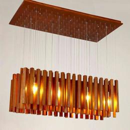 Wholesale Tom Dixon Meteor Shower Light - luxury LED wood meteor shower led droplight chandeliers creative design art contracted solid wood pendant lamps sitting room light 85-265v