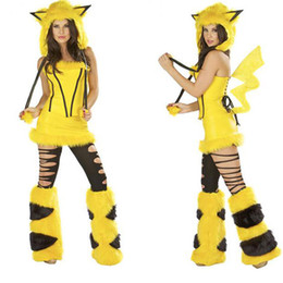Wholesale Sexy Girl Devil Costume - Halloween Costume Cosplay Pikachu Little Devil Ghost Party Clothing Big Children Women Special Occasions Sexy Clothes HH-C37