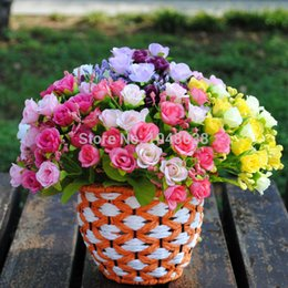 Wholesale Cheap Fake Roses - Wholesale- Cheap! HIGHT Quality Rose Flowers European 1 Bouquet Artificial Flowers Vivid Fake Rose Wedding Home Party Decoration