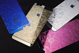 Wholesale Glittering Sticker Iphone - 3D Diamond glitter Tempered Glass full Screen Protector rhombus electroplating sticker film for iphone 5s se 6 6s plus 7 plus