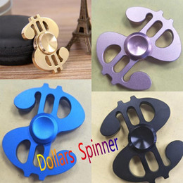 Wholesale Iron Metal Box - In Stock!2017New style dollars Metal Fidget Hand Spinners with iron box packaging alloy texture decompression anxiety toys Free by DHL
