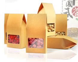 Wholesale Transparent Window Box - 100pcs kraft paper gift bag box stand up bag box for rice corn tea tea cookie candy with transparent square window free shipping by DHL