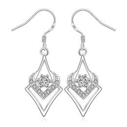 Wholesale Copper Sections - 925 Silver Earrings Square Diamond Heart-shaped Cubic Zirconia Earrings Romantic Dating Wild Earrings Long Section