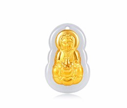Wholesale Nephrite Jade - 100% Natural Nephrite Hetian Jade and 24K Yellow gold Lotus Kwan Yin Pendant