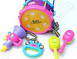 Conjunto musical para crianças on-line-5 pcs Educacional Bebê Crianças Rolo Tambor Instrumentos Musicais Banda Kit Crianças Brinquedo Do Bebê Caçoa o Presente Set Frete Grátis