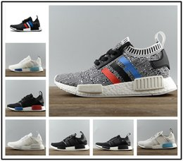 Wholesale Color Canvas Shoes Glitter - 2017 Cheap NMD R1 Primeknit Tri-Color PK Red white blue black Men Women Running Shoes Classic nmd Ultra boost sports Shoes Sneakers