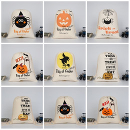 Wholesale festival clothes - Cotton Drawstring Bag Spider Pumpkin Witch Bundle Pocket Halloween Trick Or Treat Blongs To Storage Shopping Bags For Festival Gift