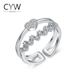 Wholesale Heart Shaped Ring Rhinestone Crystal - Heart Shaped Ring,925 Silver Ring