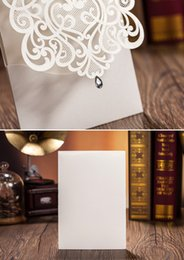 Wholesale White Greeting Cards Envelopes - Wholesale- White Paper Wedding Invitation Envelope Laser Cut Card Wedding Party Greeting Thank you Card Postcards Invitations