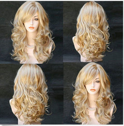 Wholesale Blonde Curly Cosplay Wigs - 100% New High Quality Fashion Picture full lace wigs Sexy Women Long Wavy Synthetic Heat Resistant Cosplay Hair Full Wig Mix Blonde