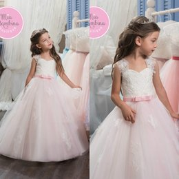 Wholesale Event Dress Girl - 2017 Lovely Tulle Flower Girls' Dresses With Bow Sash Lace Applique Cap Sleeve Wedding Events Dresses Girls Birthday Party Communication