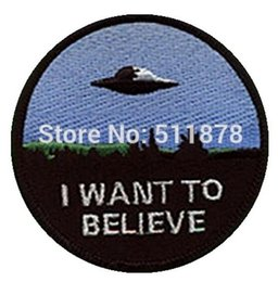 "Wholesale I Believe - 3"" X-Files I Want To Believe Movie TV Series Embroidered sew on iron on patch cosplay transfer COMICS APPLIQUE"