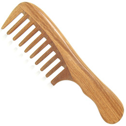 Wholesale Wide Tooth Comb Wholesale - 1Pcs Handmade Wooden Sandalwood Wide Tooth Wood Comb Natural Head Massager Hair Combs Hair Care